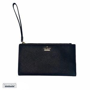 Kate Spade Black Long Leather Wallet w Wrist Strap